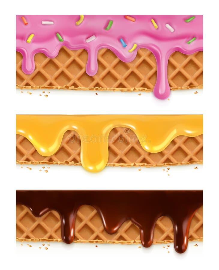 Svamlar choklad, honung, glasyr royaltyfri illustrationer