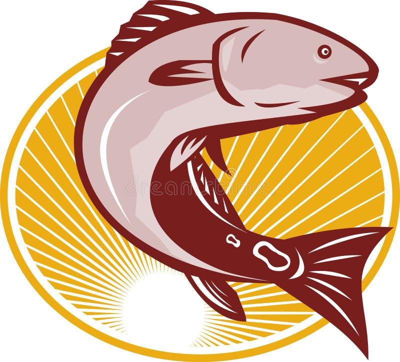 Svan för fläck för bastrummafisk röd retro