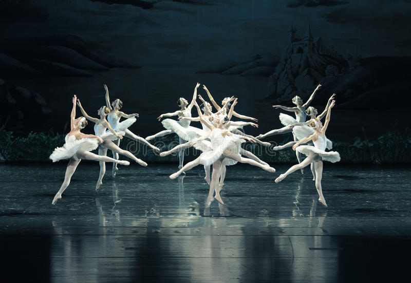 Svanflyg-balett svan sjön royaltyfri bild