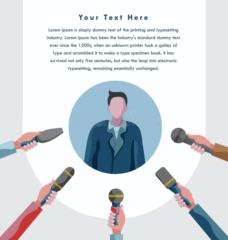 Svarande affärsmanorientering för press stock illustrationer