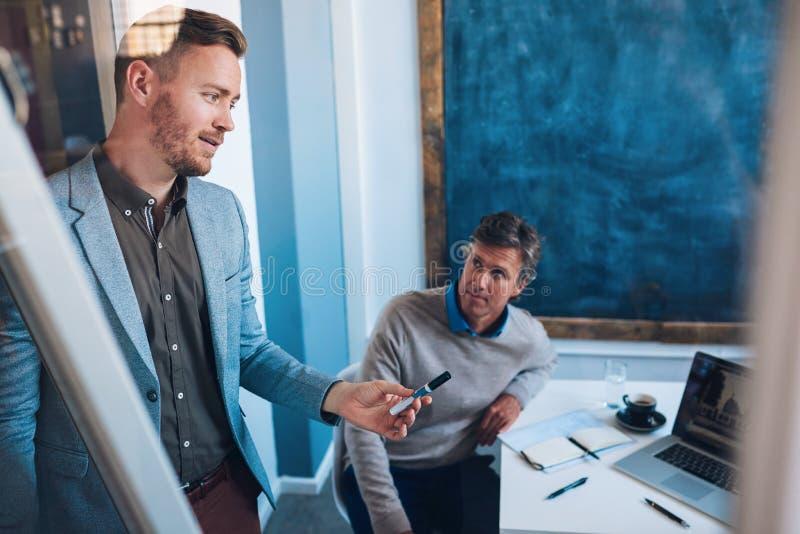 Svarande frågor för affärsman under en presentation till coworkers arkivbild