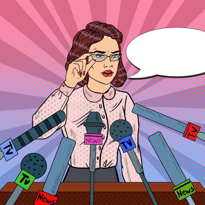 Svarande frågor för säker kvinna på presskonferens Massmediaintervju Illustration för popkonst royaltyfri illustrationer