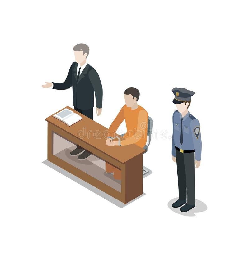 Svarande med den isometriska beståndsdelen 3D för advokat royaltyfri illustrationer