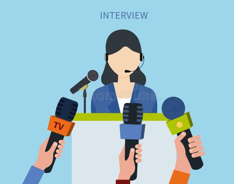 Svarande press för affärskvinna royaltyfri illustrationer