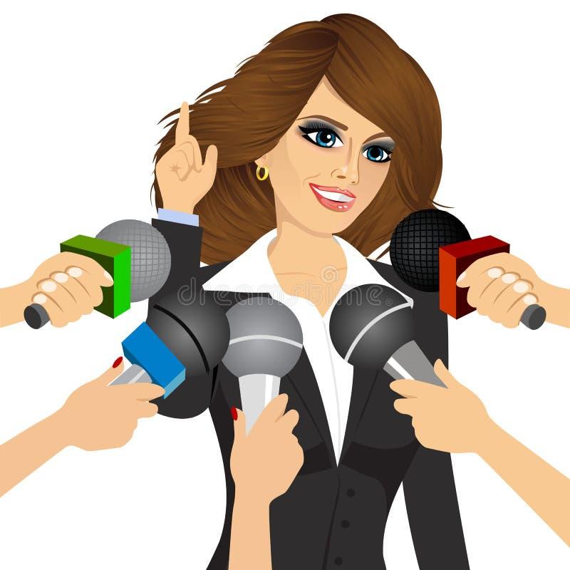 Svarande pressfrågor för kvinnlig politiker royaltyfri illustrationer