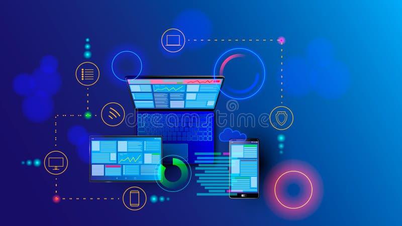 Svars- internetwebsite för skapelse för åtskilliga plattformar Byggande mobil manöverenhet på skärmen av bärbara datorn, minnesta stock illustrationer