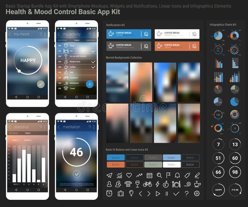Svars- UI mobil app för plan design och websitemall stock illustrationer