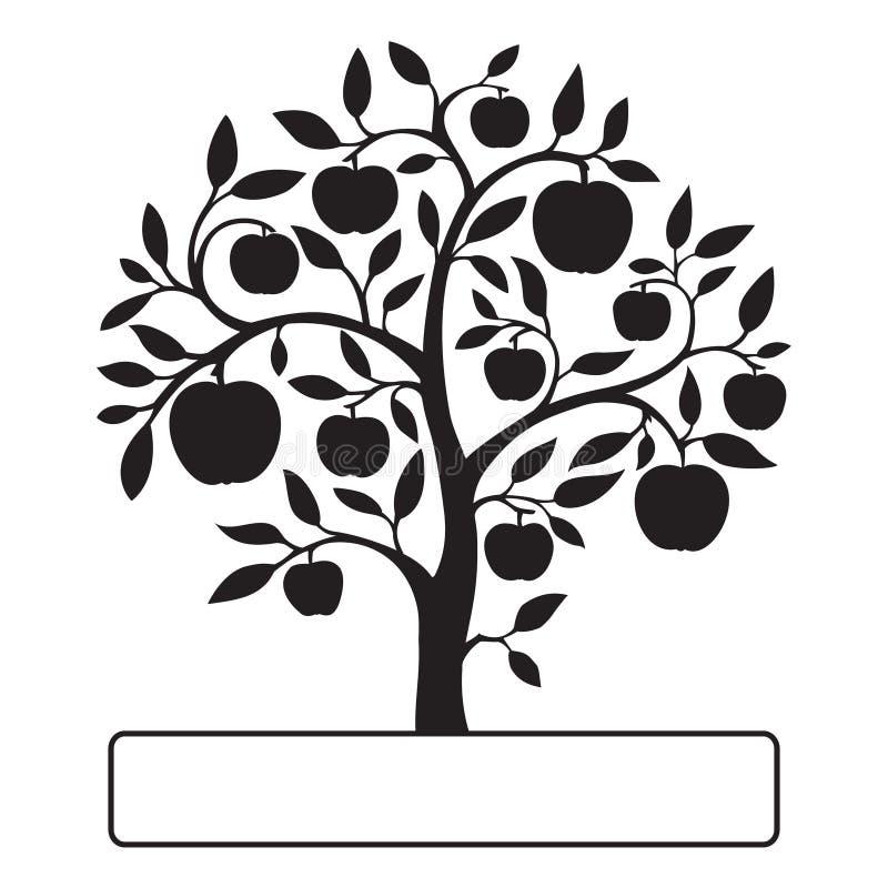 Svart äppleträd med textasken royaltyfria foton