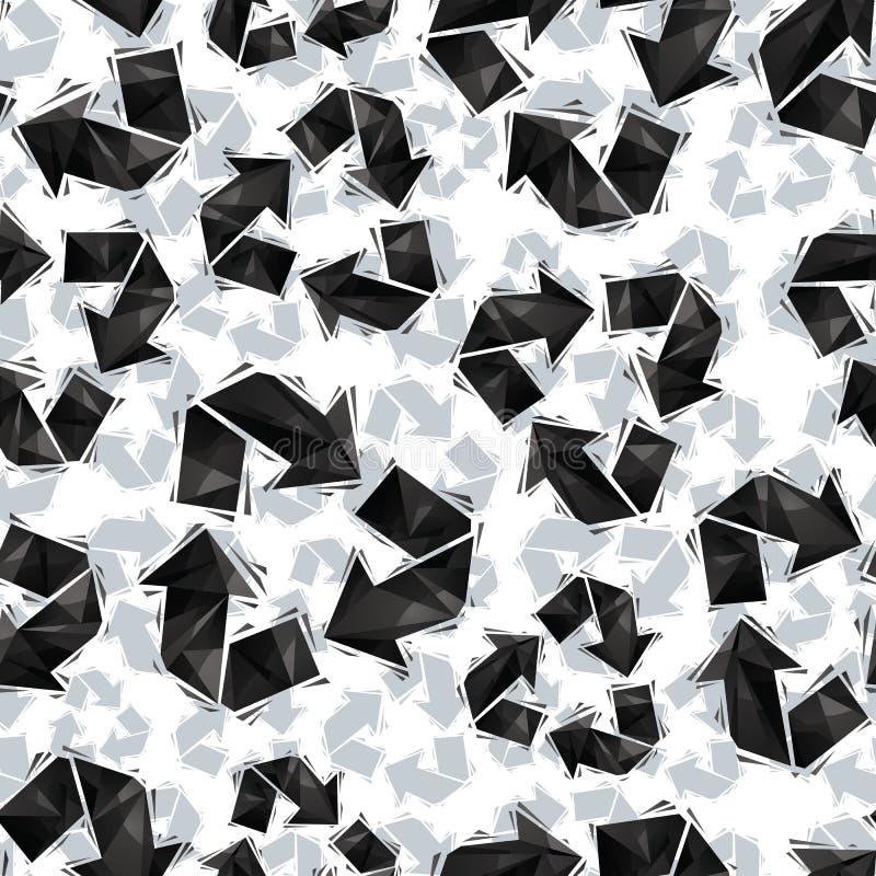 Svart återanvänder den sömlösa modellen för tecken, geometrisk modern vagel royaltyfri illustrationer