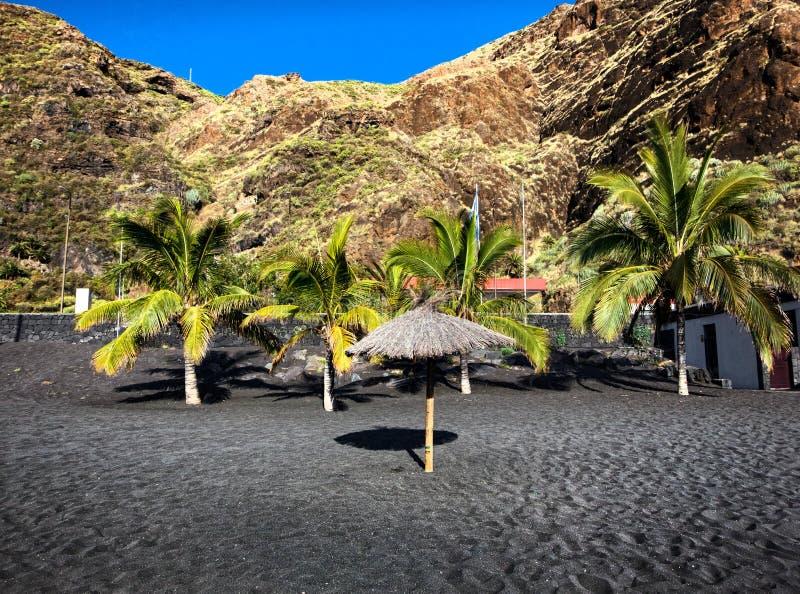 Svart ökenstrand av kanariefågelöarna La Palma arkivbild