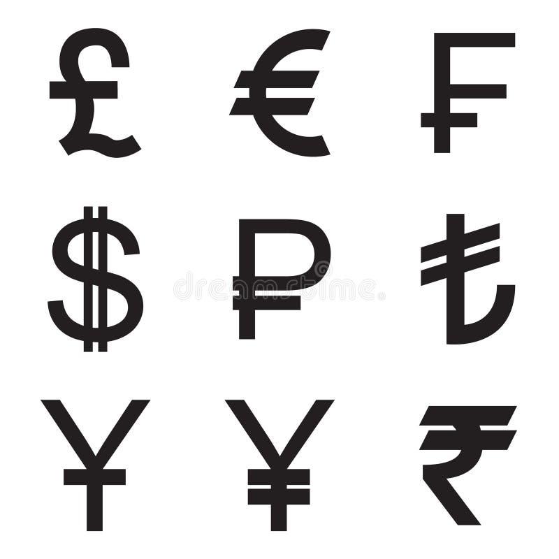 Svart över vit bakgrund Pund euro, franc, dollar, rubel, Lira, Yuan, yen, rupie vektor royaltyfri illustrationer