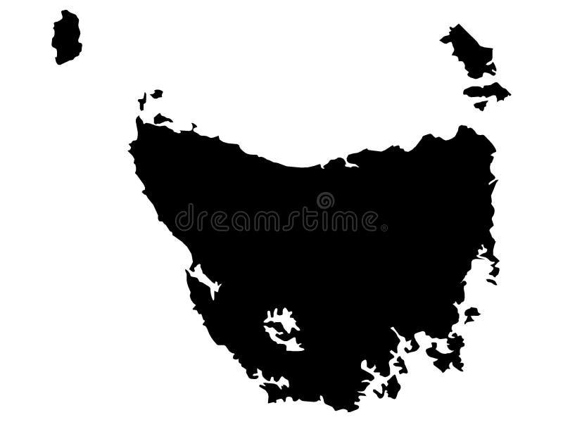 Svart översikt av australiska staten av Tasmanien stock illustrationer