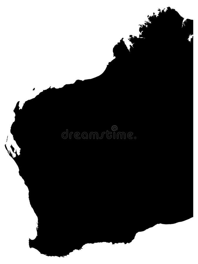Svart översikt av australiska staten av västra Australien stock illustrationer