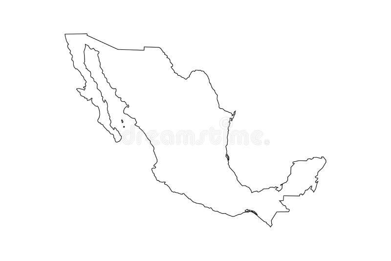Svart översikt av den Mexico översikten royaltyfri illustrationer
