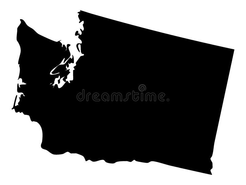 Svart översikt av USA staten av Washington royaltyfri illustrationer