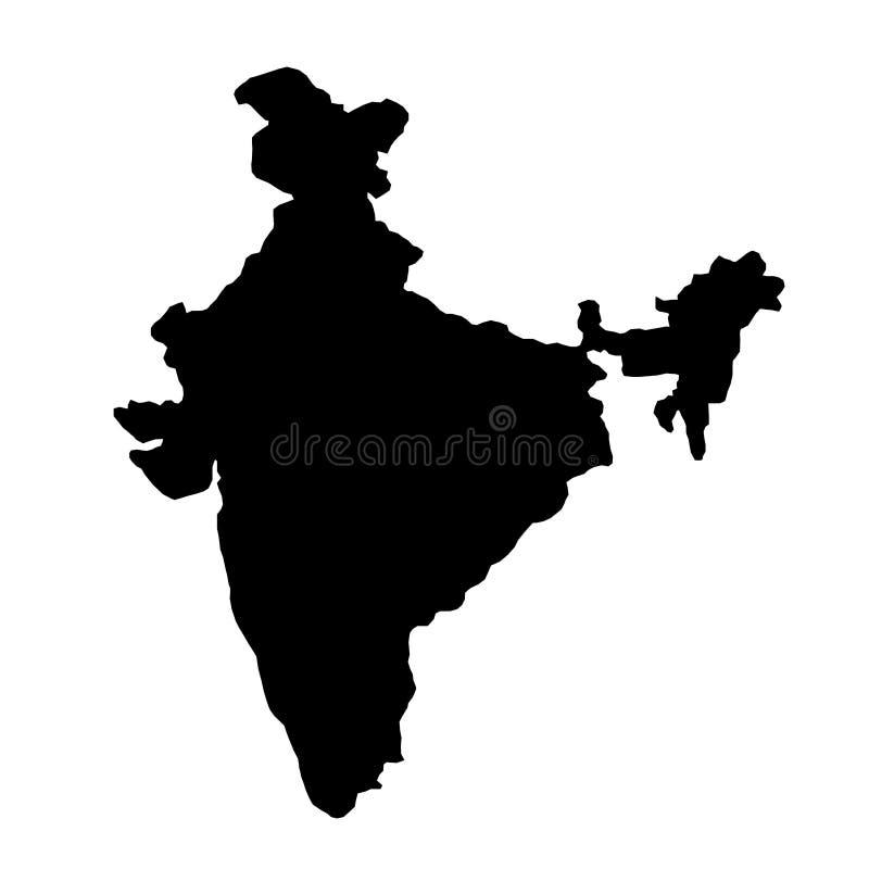Svart översikt för konturlandsgränser av Indien på vit backgroun royaltyfri illustrationer