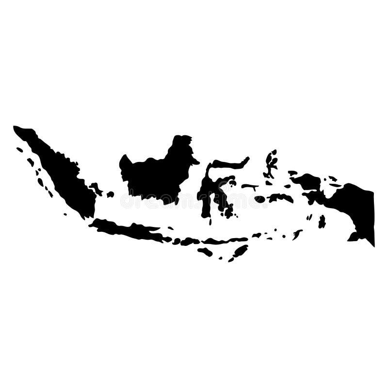 Svart översikt för konturlandsgränser av Indonesien på vit backg royaltyfri illustrationer
