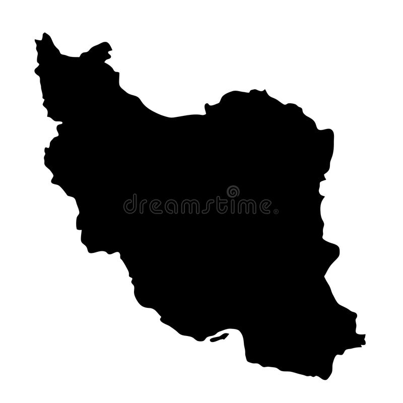 Svart översikt för konturlandsgränser av Iran på vit bakgrund stock illustrationer