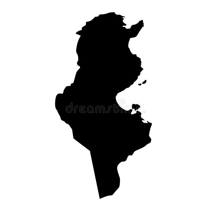 Svart översikt för konturlandsgränser av Tunisien på den vita backgroen vektor illustrationer