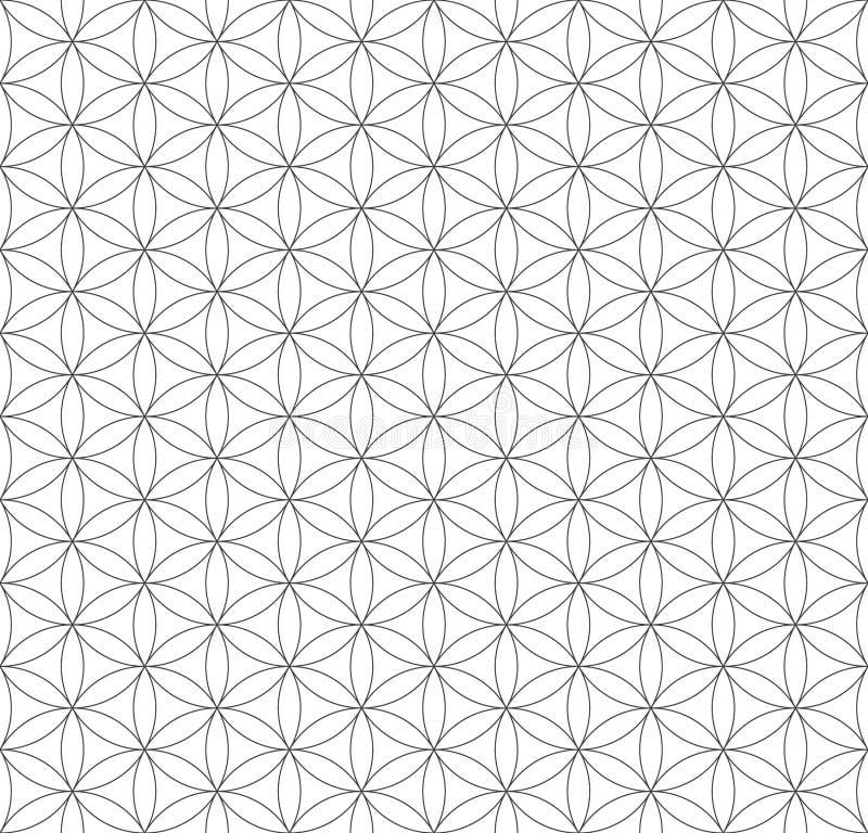 Svart översiktsblomma av den sakrala geometrimodellen för liv stock illustrationer