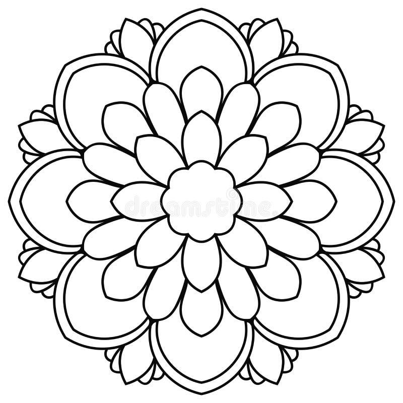 Svart översiktsblommamandala Klottra den runda dekorativa beståndsdelen för färgläggningboken som isoleras på vit bakgrund stock illustrationer