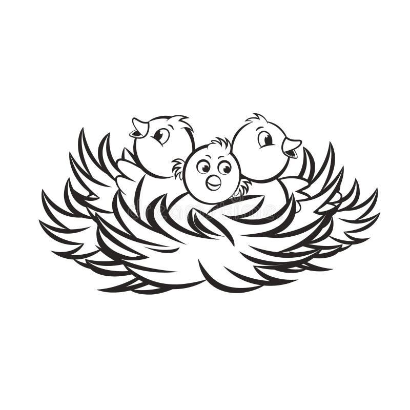 Svart översiktsfågelrede som isoleras på vitbaksidajordning vektor illustrationer