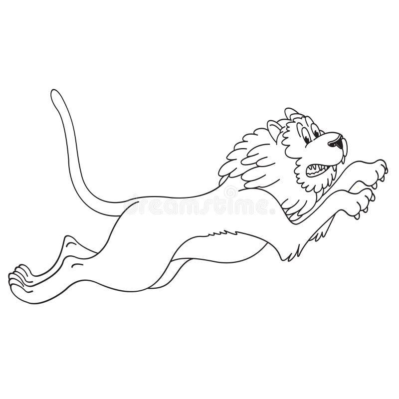 Svart översiktslejon som hoppar och vrålar stock illustrationer