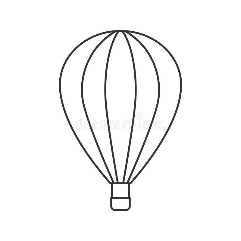 Svart översiktssymbol av ballongen på vit bakgrund Linje symbol av sidosikten av ballongen royaltyfri illustrationer