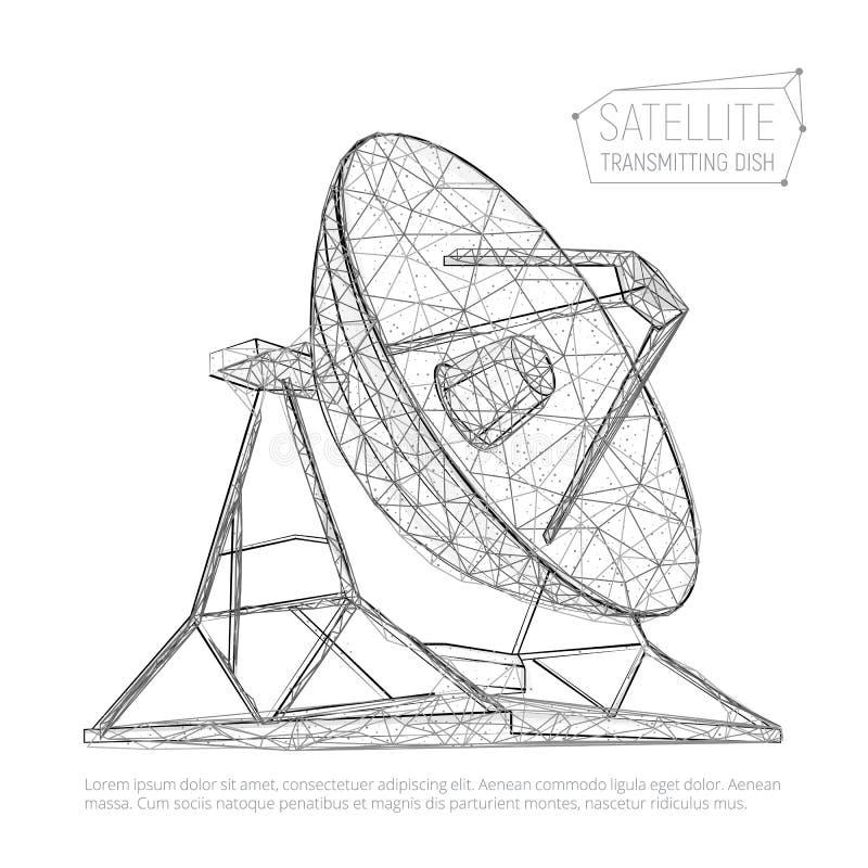 Svart abstrakt polygonal satellit- maträtt för utforskning av rymden stock illustrationer