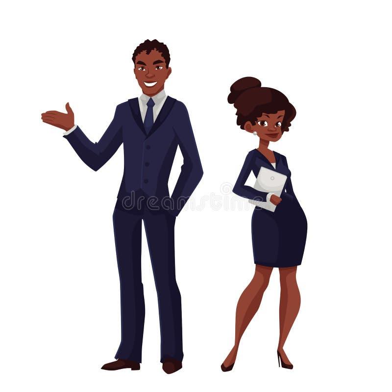 Svart affärsman och en kvinna stock illustrationer