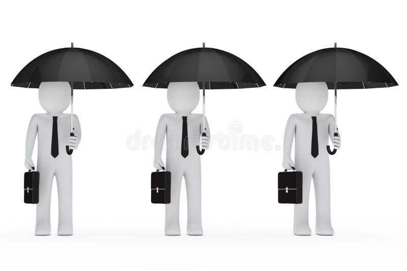 svart affärsmanhållparaply vektor illustrationer