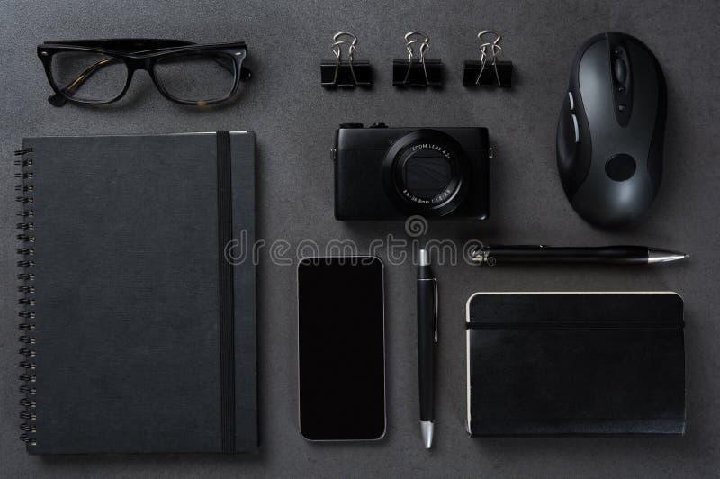 Svart affärsskrivbord fotografering för bildbyråer