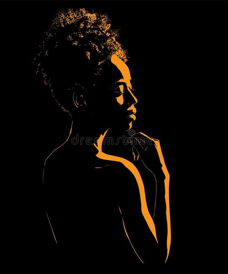 Svart afrikansk kvinnaståendekontur i panelljus illustration vektor illustrationer