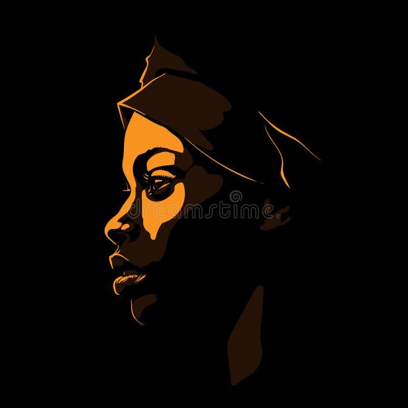 Svart afrikansk kvinnaståendekontur i panelljus vektor illustration stock illustrationer