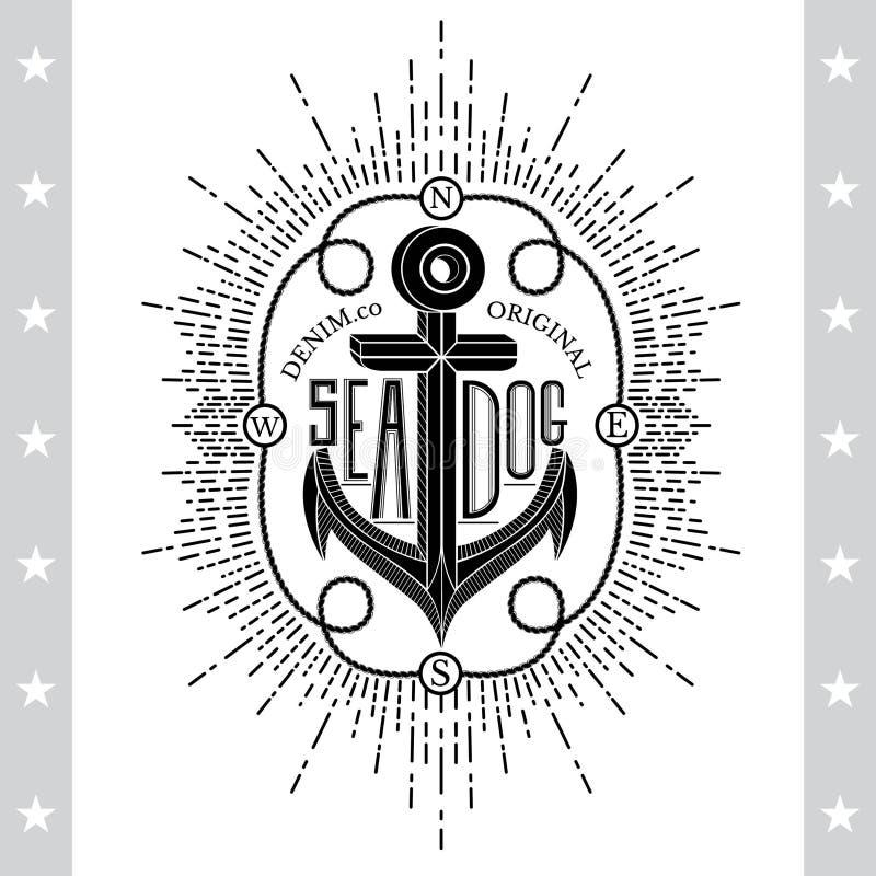 Svart ankare på vit Tappningetikett, bakgrund Typografibeståndsdelar stock illustrationer