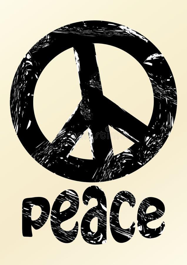 Svart anti-krigsymbole i grungestil med inskriftfred på beige bakgrund stock illustrationer