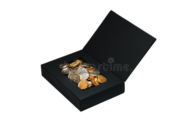 Svart ask med pengar som isoleras på vit arkivbild