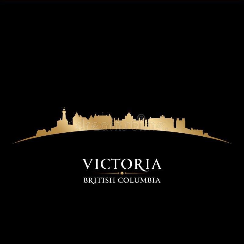 Svart b för kontur för Victoria British Columbia Canada stadshorisont vektor illustrationer