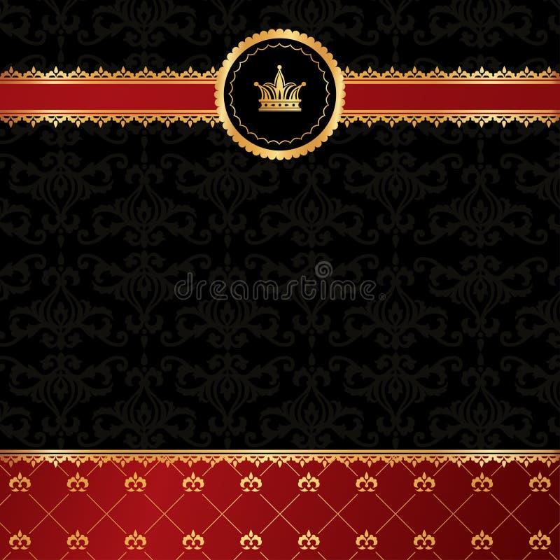 Svart bakgrund för tappning med guld- dekorativ ri arkivbilder