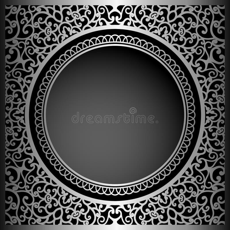 Svart bakgrund för tappning med swirly prydnaden royaltyfri illustrationer