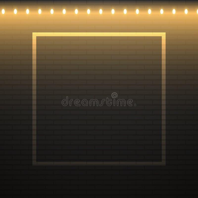 Svart bakgrund för tegelstenvägg med den julljus och ramen royaltyfri illustrationer