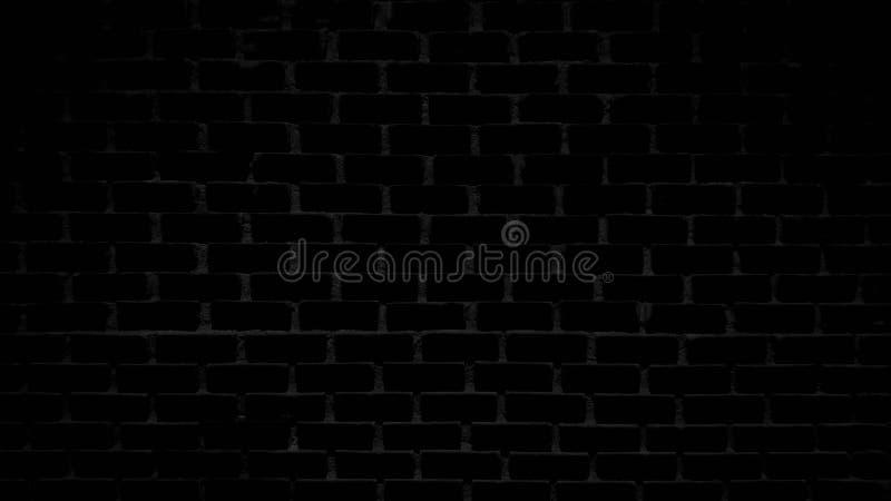 Svart bakgrund för tegelstenväggen, textur som är horisontal, skapar ett ljust mörker arkivbild