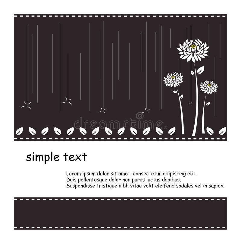 Svart bakgrund med den vita blomman och regn  vektor illustrationer