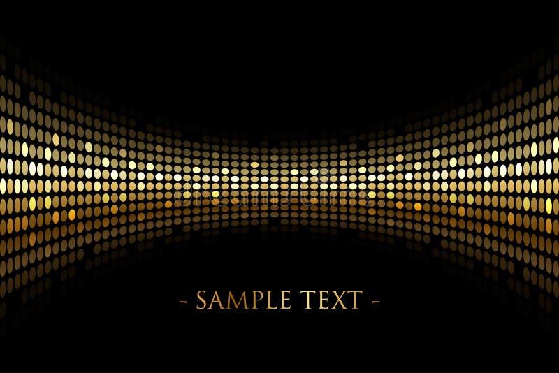 Svart bakgrund med guld- ljus med utrymme för din tex stock illustrationer