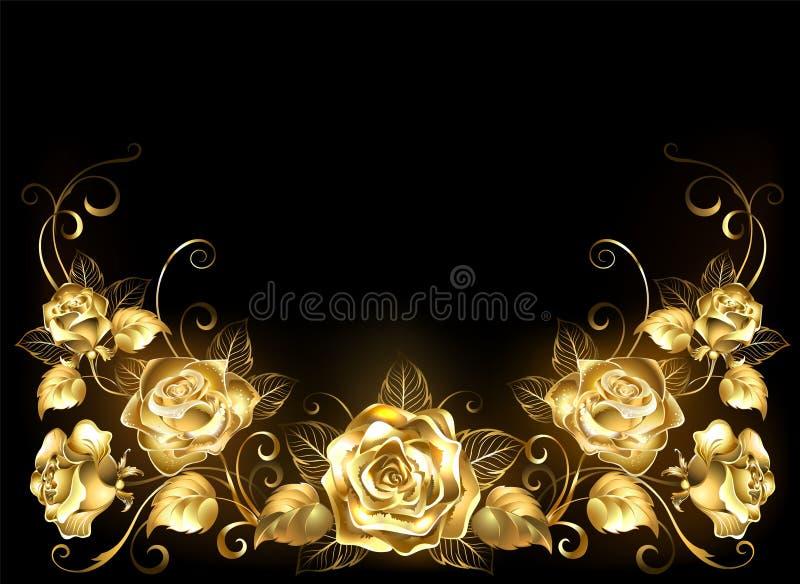 Svart bakgrund med guld- rosor stock illustrationer