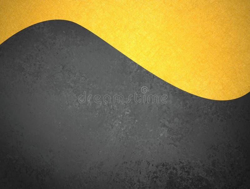 Svart bakgrund med guld- vågtitelraddesign och textur royaltyfri foto