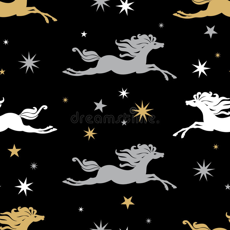 Svart bakgrund med hästar vektor illustrationer