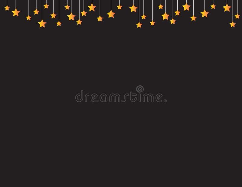 Svart bakgrund med orange stjärnor som uppifrån hänger stock illustrationer