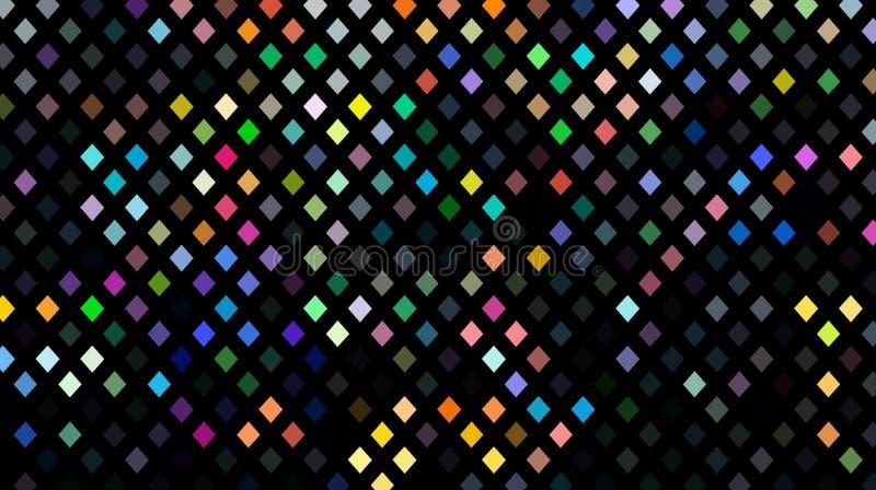 Svart bakgrundsgarneringmosaik Gula rosa gröna blåa purpurfärgade kristaller Festligt skimra bakgrund vektor illustrationer