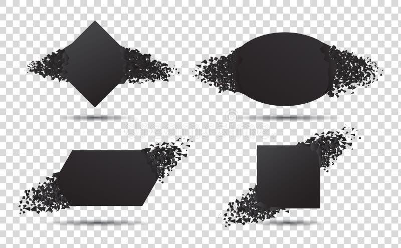 Svart banderoll med explosionspartiklar Begreppet brutet kort med skräp 3d sprängningseffekt Kvadrat och cirkelform explodera royaltyfri illustrationer